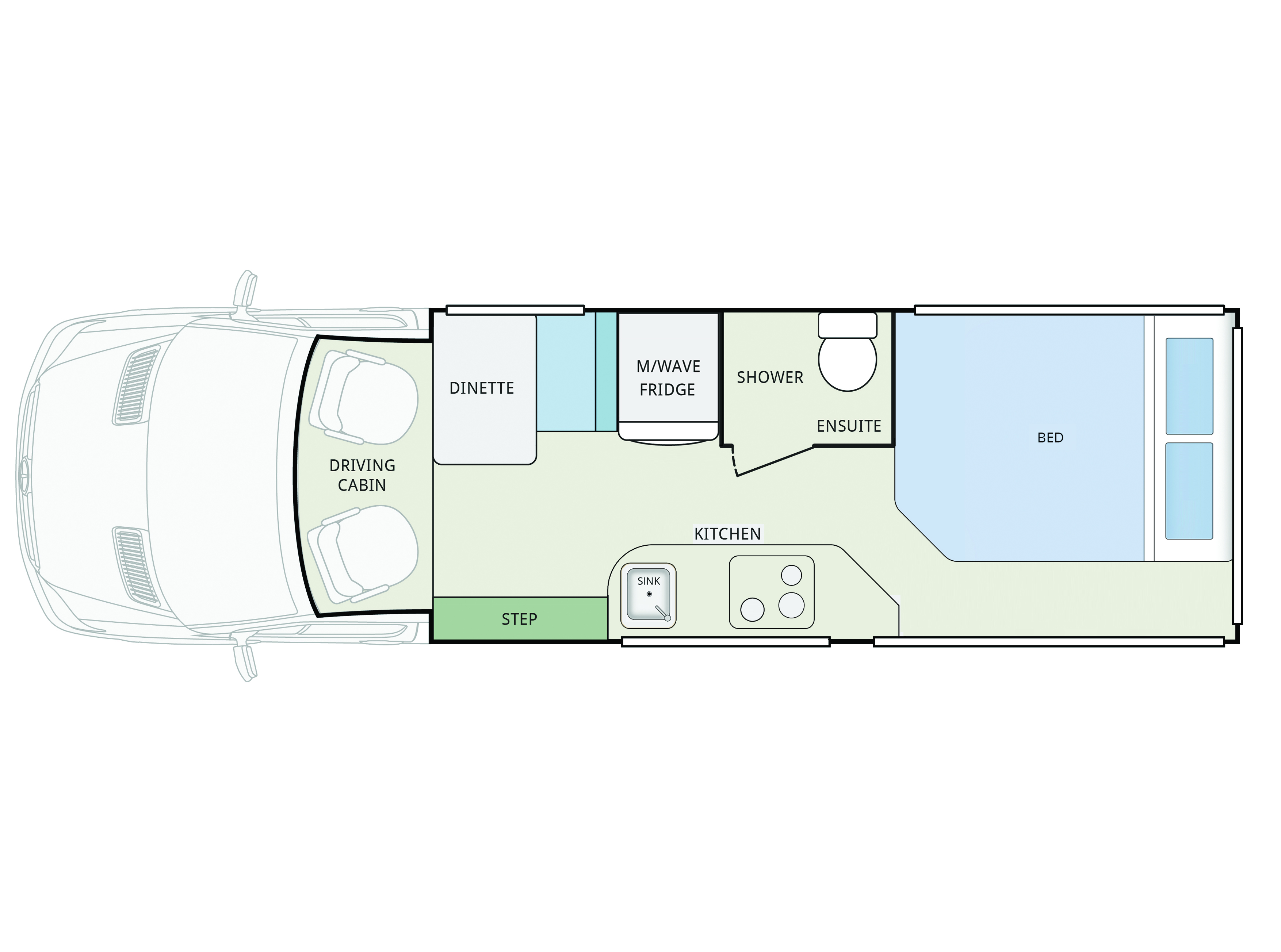 Winnebago Bondi 2S FB Floorplan, Winnebago Bondi 2S FB